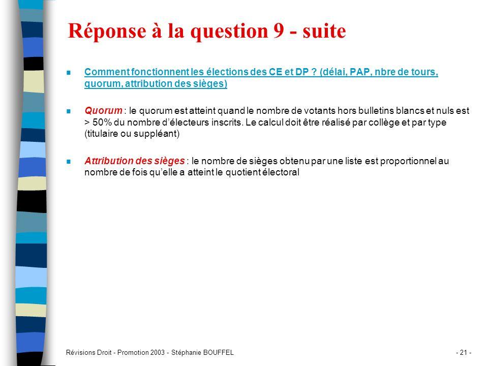 Révisions Droit - Promotion 2003 - Stéphanie BOUFFEL- 21 - Réponse à la question 9 - suite n Comment fonctionnent les élections des CE et DP ? (délai,