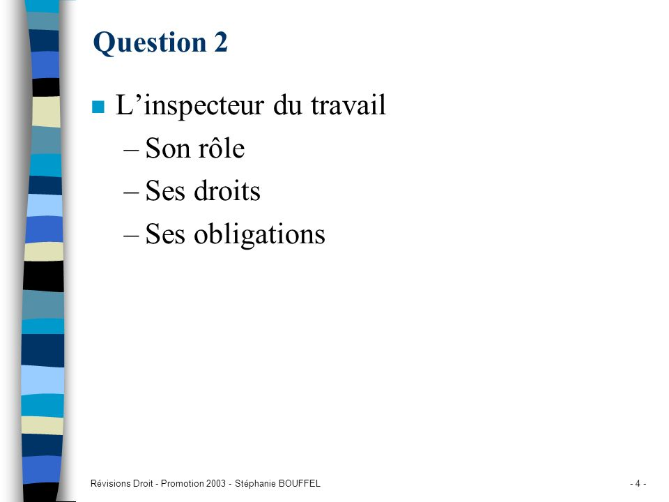 Révisions Droit - Promotion 2003 - Stéphanie BOUFFEL- 4 - Question 2 n Linspecteur du travail –Son rôle –Ses droits –Ses obligations