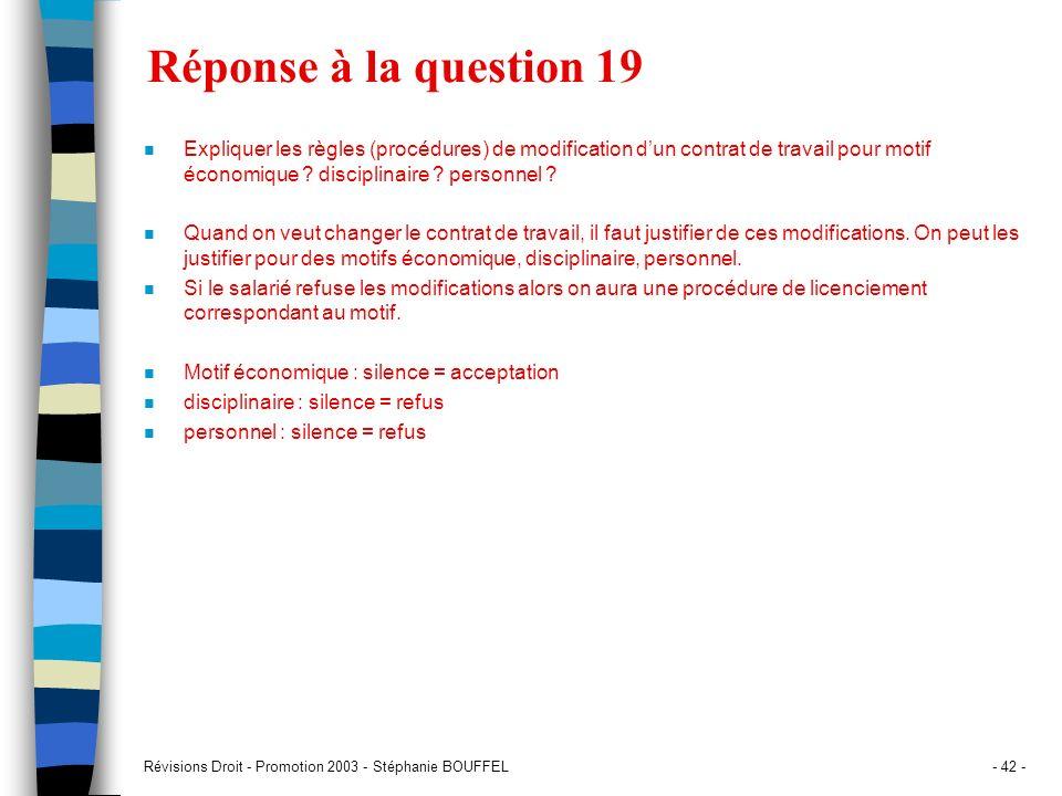 Révisions Droit - Promotion 2003 - Stéphanie BOUFFEL- 42 - Réponse à la question 19 n Expliquer les règles (procédures) de modification dun contrat de