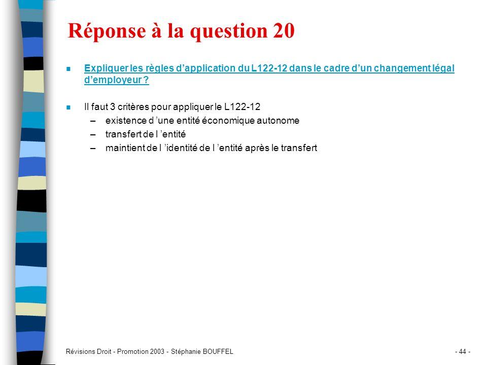 Révisions Droit - Promotion 2003 - Stéphanie BOUFFEL- 44 - Réponse à la question 20 n Expliquer les règles dapplication du L122-12 dans le cadre dun c