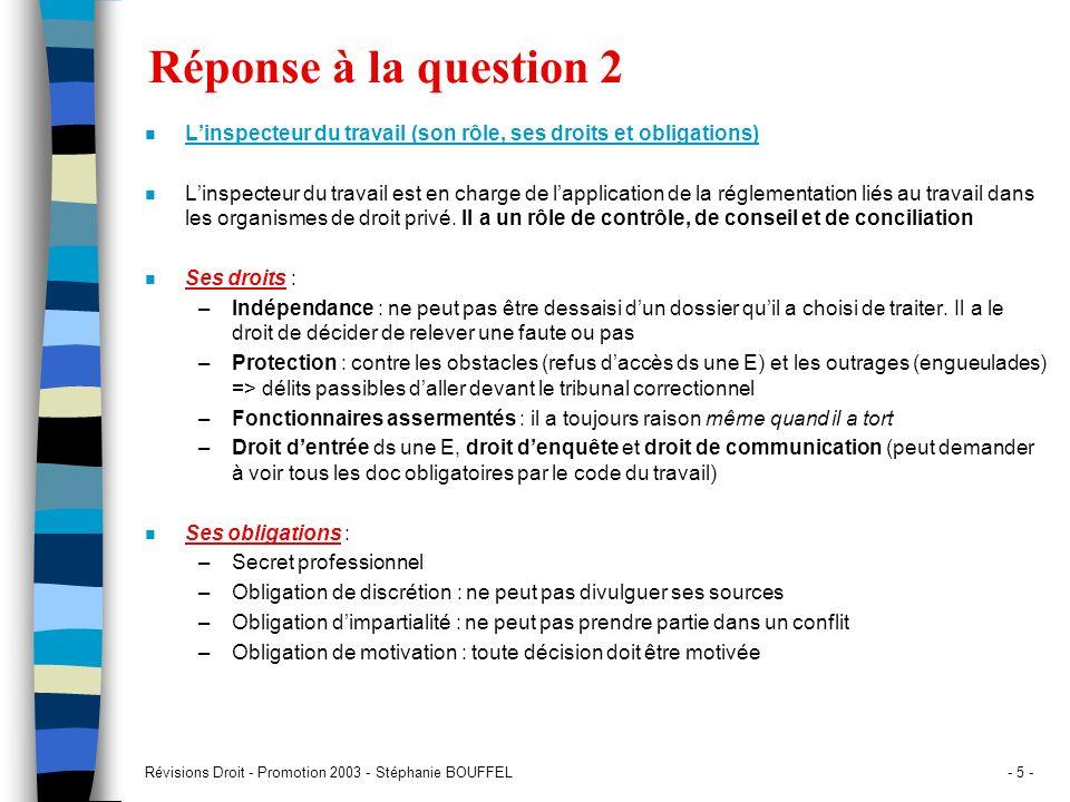 Révisions Droit - Promotion 2003 - Stéphanie BOUFFEL- 5 - Réponse à la question 2 n Linspecteur du travail (son rôle, ses droits et obligations) n Lin