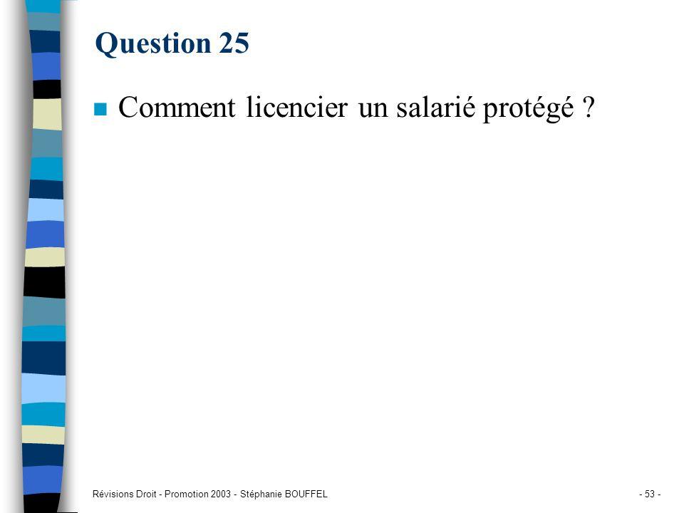 Révisions Droit - Promotion 2003 - Stéphanie BOUFFEL- 53 - Question 25 n Comment licencier un salarié protégé ?