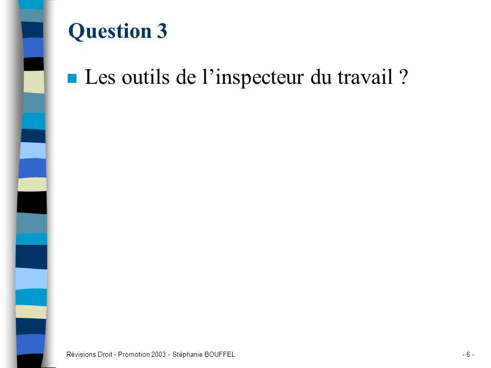 Révisions Droit - Promotion 2003 - Stéphanie BOUFFEL- 6 - Question 3 n Les outils de linspecteur du travail ?
