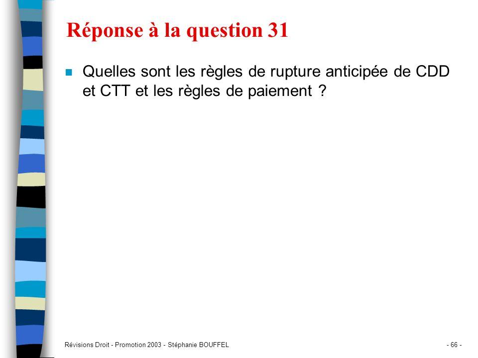 Révisions Droit - Promotion 2003 - Stéphanie BOUFFEL- 66 - Réponse à la question 31 n Quelles sont les règles de rupture anticipée de CDD et CTT et le
