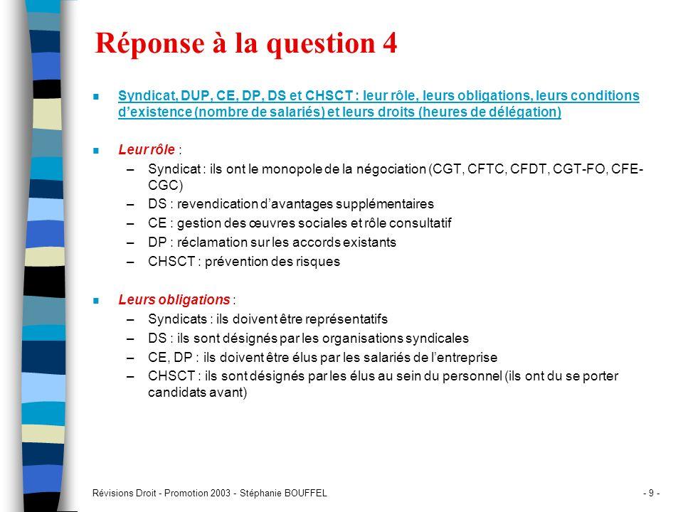 Révisions Droit - Promotion 2003 - Stéphanie BOUFFEL- 9 - Réponse à la question 4 n Syndicat, DUP, CE, DP, DS et CHSCT : leur rôle, leurs obligations,