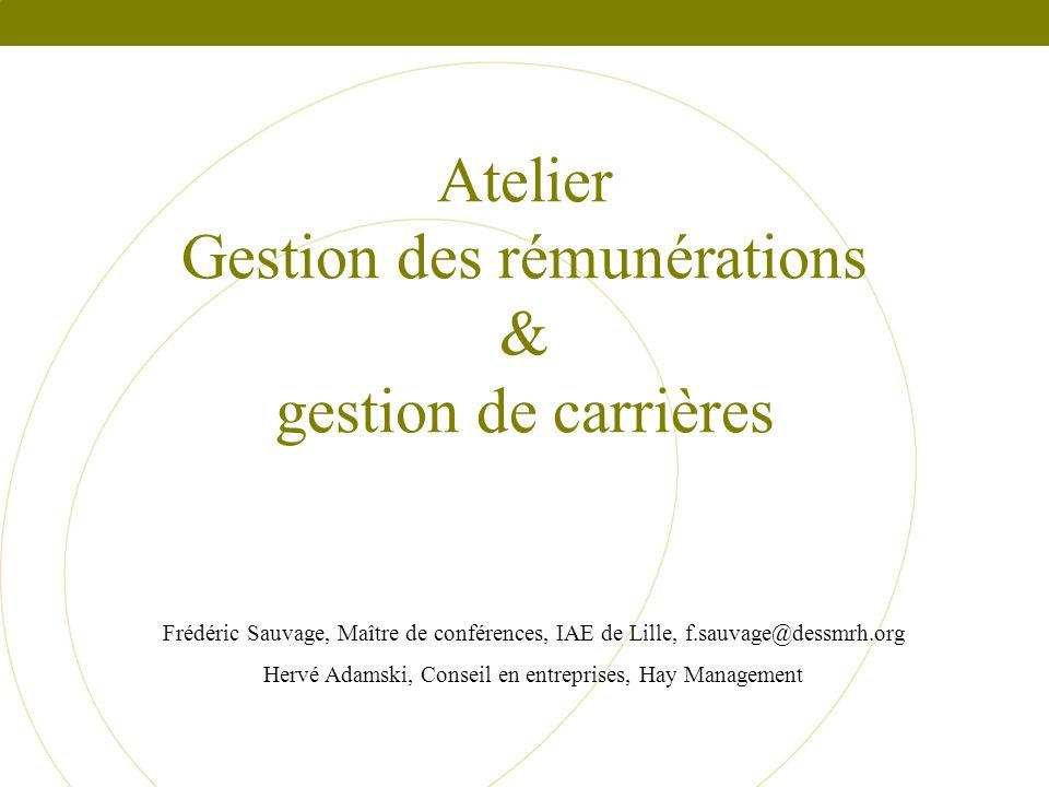 Atelier Gestion des rémunérations & gestion de carrières Frédéric Sauvage, Maître de conférences, IAE de Lille, f.sauvage@dessmrh.org Hervé Adamski, C