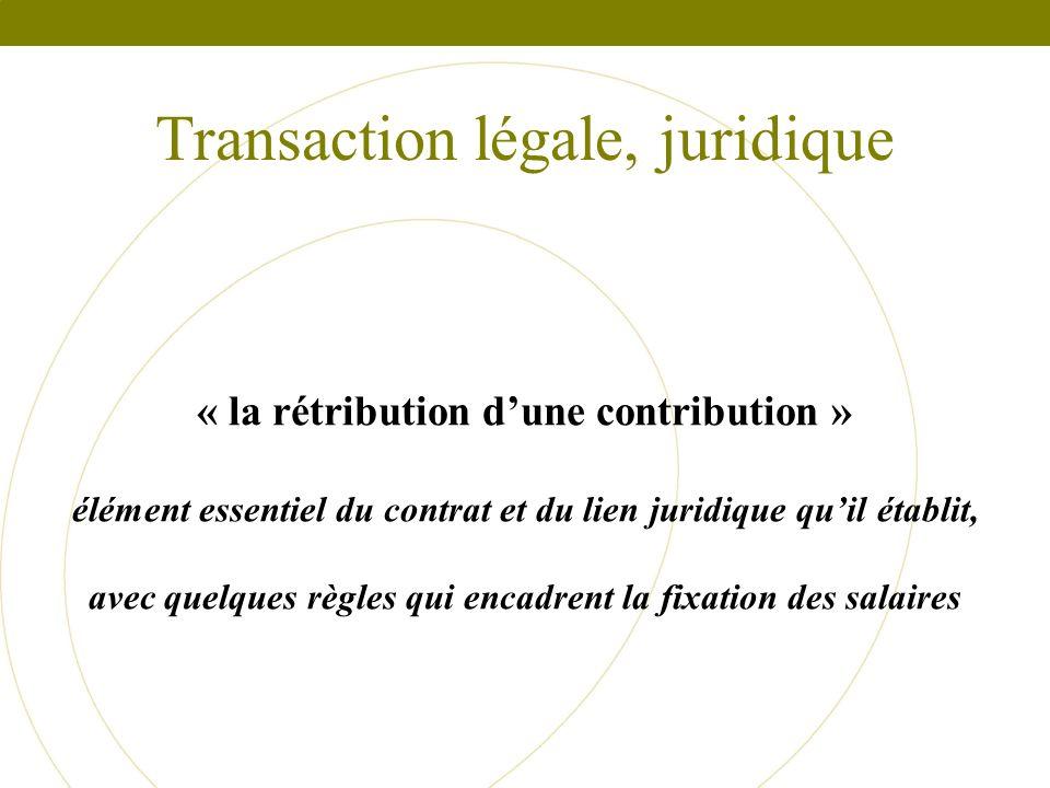 Transaction légale, juridique « la rétribution dune contribution » élément essentiel du contrat et du lien juridique quil établit, avec quelques règle
