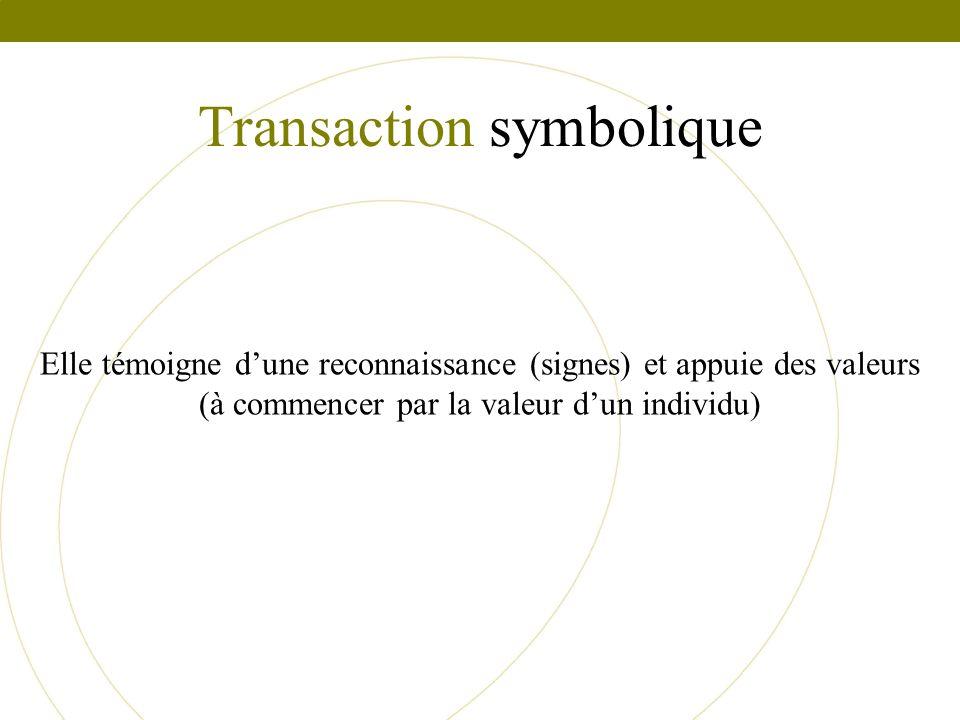 Transaction symbolique Elle témoigne dune reconnaissance (signes) et appuie des valeurs (à commencer par la valeur dun individu)