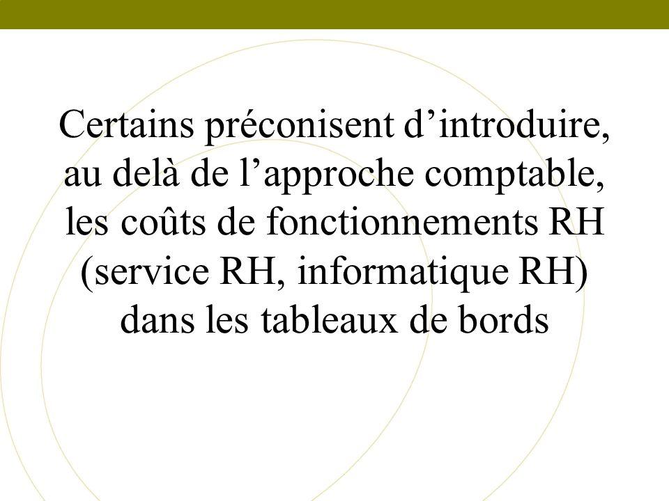 Certains préconisent dintroduire, au delà de lapproche comptable, les coûts de fonctionnements RH (service RH, informatique RH) dans les tableaux de b