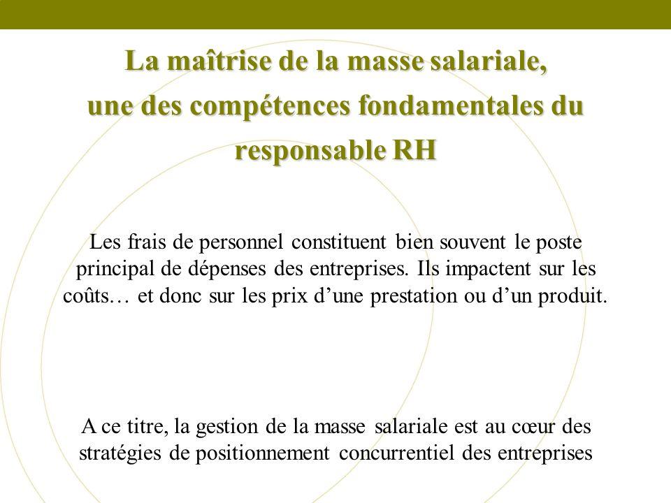 La maîtrise de la masse salariale, une des compétences fondamentales du responsable RH Les frais de personnel constituent bien souvent le poste princi