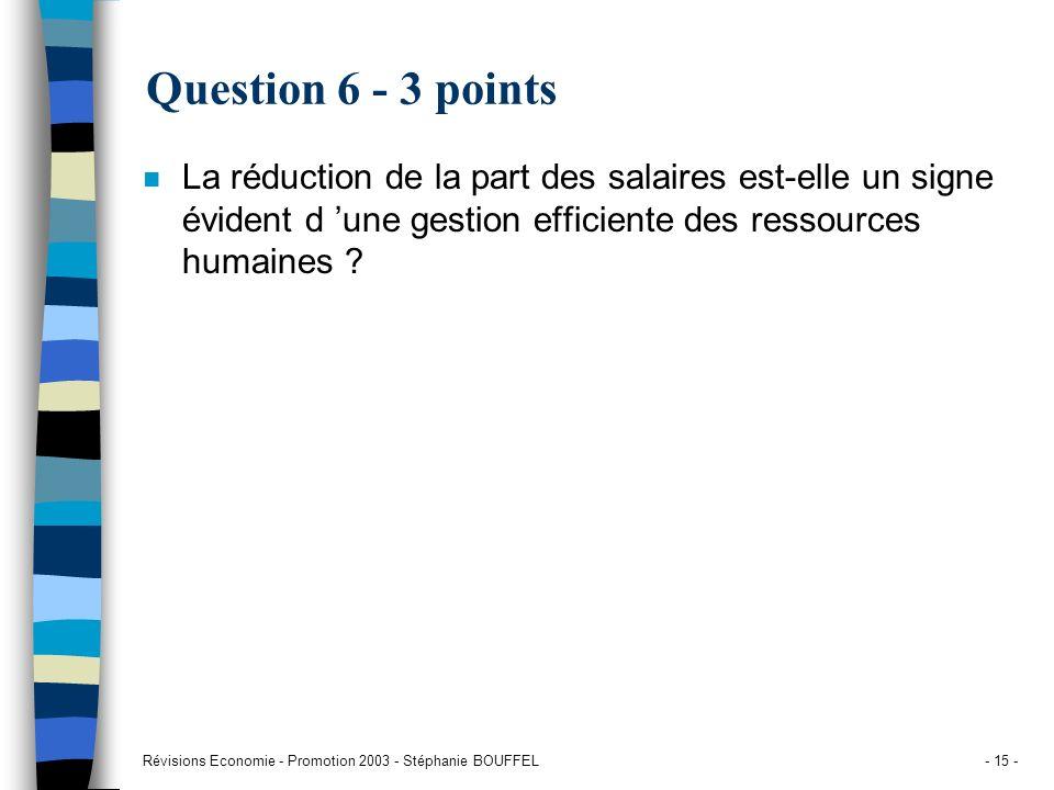 Révisions Economie - Promotion 2003 - Stéphanie BOUFFEL- 15 - Question 6 - 3 points n La réduction de la part des salaires est-elle un signe évident d