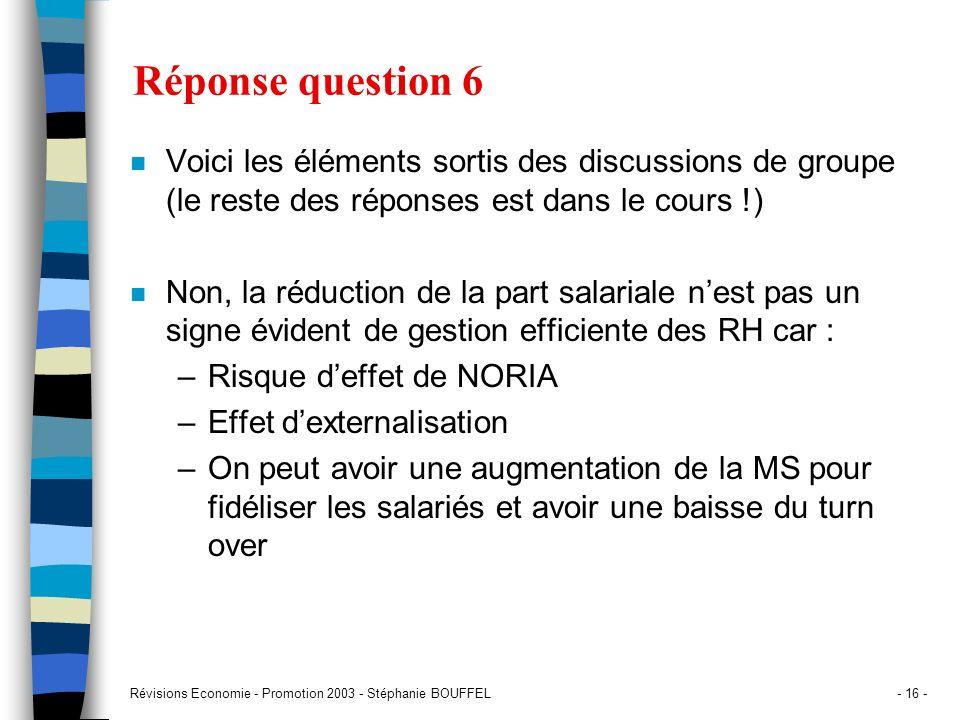 Révisions Economie - Promotion 2003 - Stéphanie BOUFFEL- 16 - Réponse question 6 n Voici les éléments sortis des discussions de groupe (le reste des r