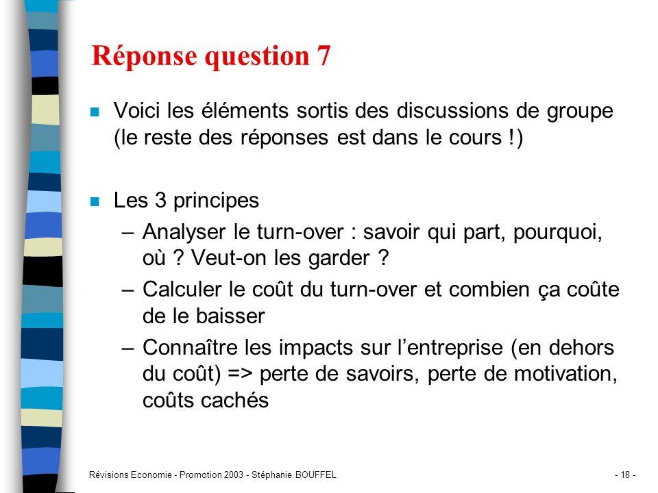 Révisions Economie - Promotion 2003 - Stéphanie BOUFFEL- 18 - Réponse question 7 n Voici les éléments sortis des discussions de groupe (le reste des r