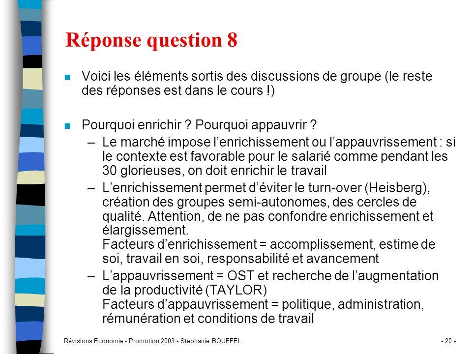 Révisions Economie - Promotion 2003 - Stéphanie BOUFFEL- 20 - Réponse question 8 n Voici les éléments sortis des discussions de groupe (le reste des r