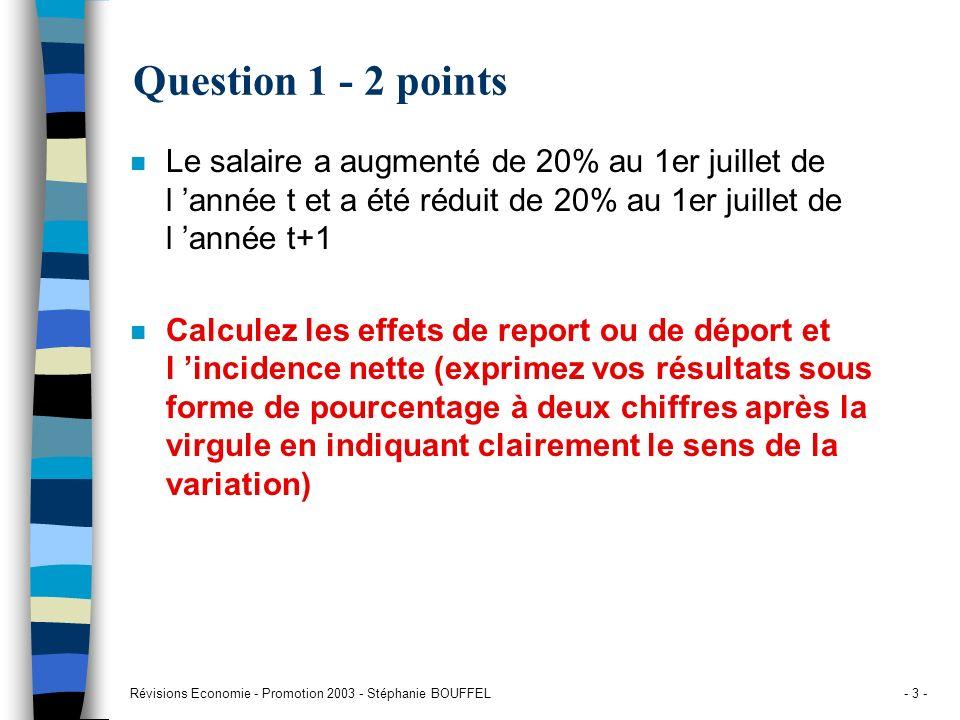 Révisions Economie - Promotion 2003 - Stéphanie BOUFFEL- 3 - Question 1 - 2 points n Le salaire a augmenté de 20% au 1er juillet de l année t et a été