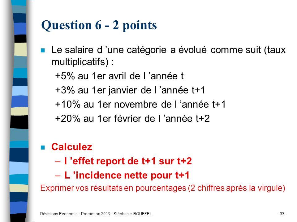 Révisions Economie - Promotion 2003 - Stéphanie BOUFFEL- 33 - Question 6 - 2 points n Le salaire d une catégorie a évolué comme suit (taux multiplicat
