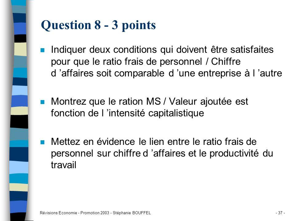 Révisions Economie - Promotion 2003 - Stéphanie BOUFFEL- 37 - Question 8 - 3 points n Indiquer deux conditions qui doivent être satisfaites pour que l