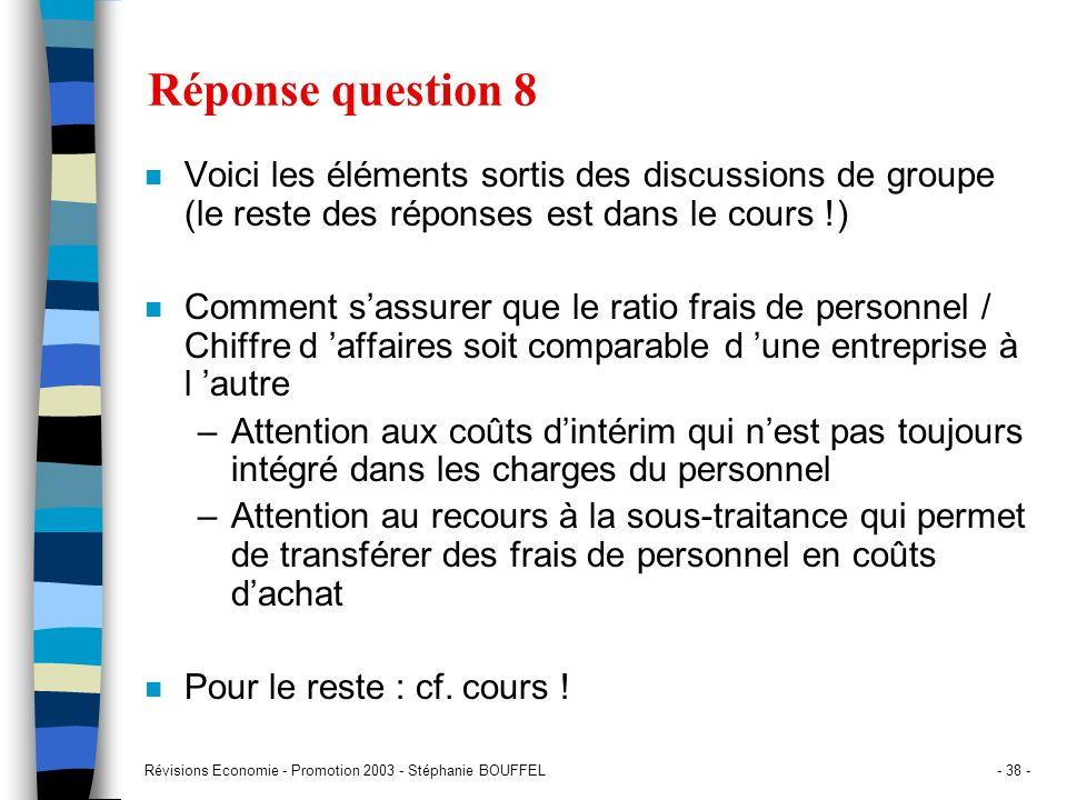 Révisions Economie - Promotion 2003 - Stéphanie BOUFFEL- 38 - Réponse question 8 n Voici les éléments sortis des discussions de groupe (le reste des r