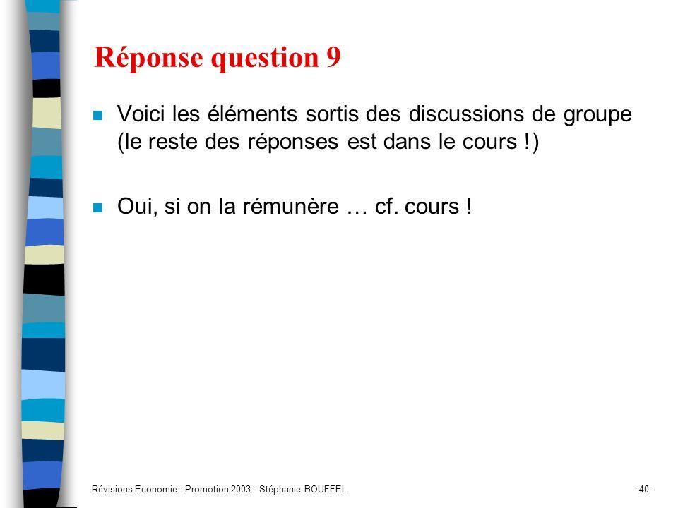 Révisions Economie - Promotion 2003 - Stéphanie BOUFFEL- 40 - Réponse question 9 n Voici les éléments sortis des discussions de groupe (le reste des r