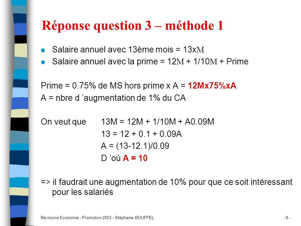 Révisions Economie - Promotion 2003 - Stéphanie BOUFFEL- 8 - Réponse question 3 – méthode 1 Salaire annuel avec 13ème mois = 13x M Salaire annuel avec