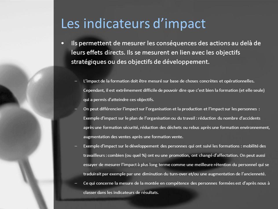 Les indicateurs dimpact Ils permettent de mesurer les conséquences des actions au delà de leurs effets directs.