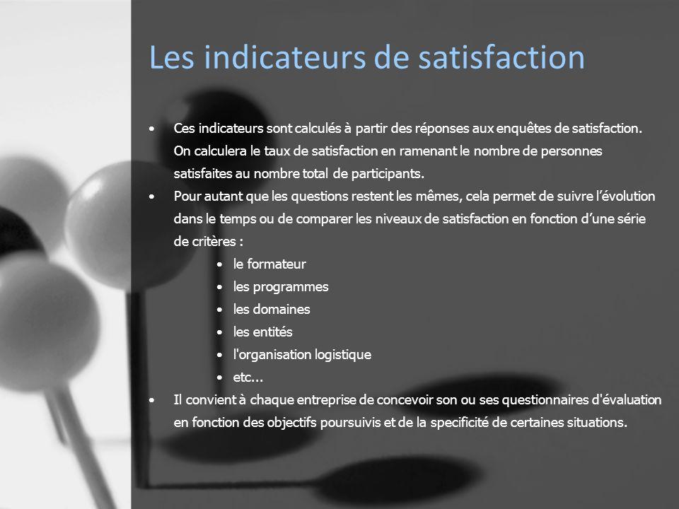 Les indicateurs de satisfaction Ces indicateurs sont calculés à partir des réponses aux enquêtes de satisfaction.