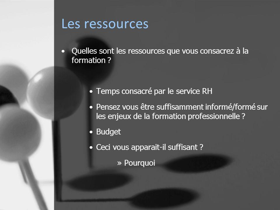 Les ressources Quelles sont les ressources que vous consacrez à la formation .
