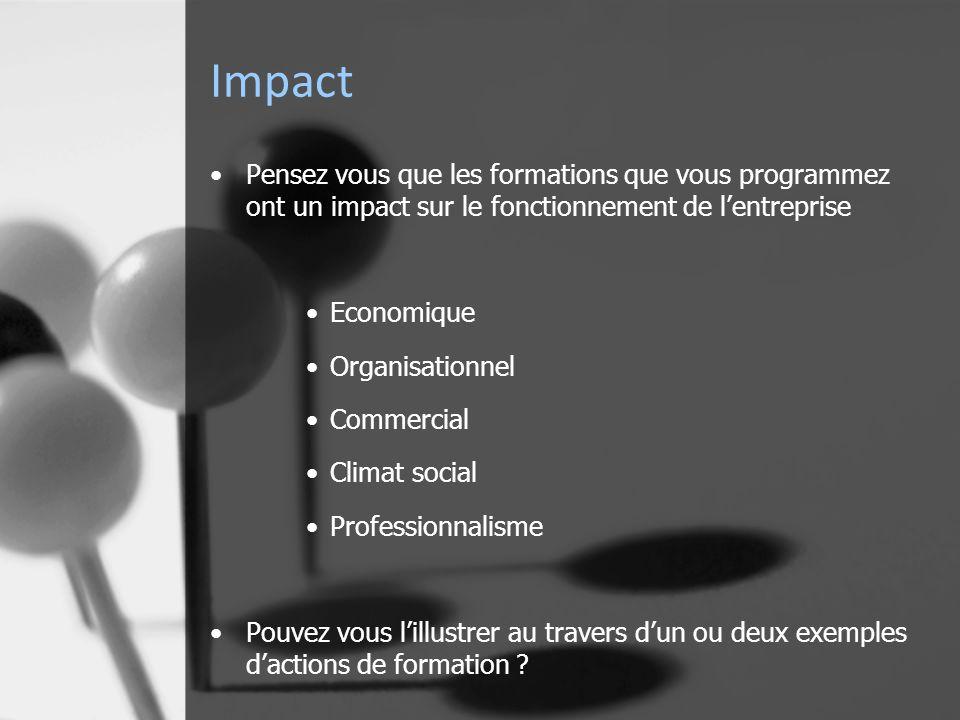 Impact Pensez vous que les formations que vous programmez ont un impact sur le fonctionnement de lentreprise Economique Organisationnel Commercial Climat social Professionnalisme Pouvez vous lillustrer au travers dun ou deux exemples dactions de formation