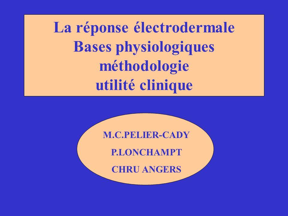 La réponse électrodermale Bases physiologiques méthodologie utilité clinique M.C.PELIER-CADY P.LONCHAMPT CHRU ANGERS