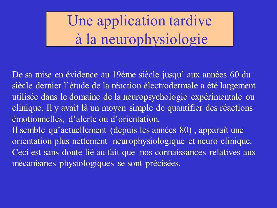 Une application tardive à la neurophysiologie De sa mise en évidence au 19ème siècle jusqu aux années 60 du siècle dernier létude de la réaction élect