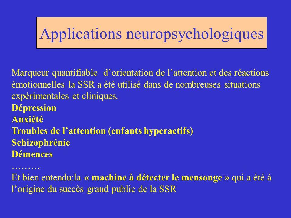 Applications neuropsychologiques Marqueur quantifiable dorientation de lattention et des réactions émotionnelles la SSR a été utilisé dans de nombreus