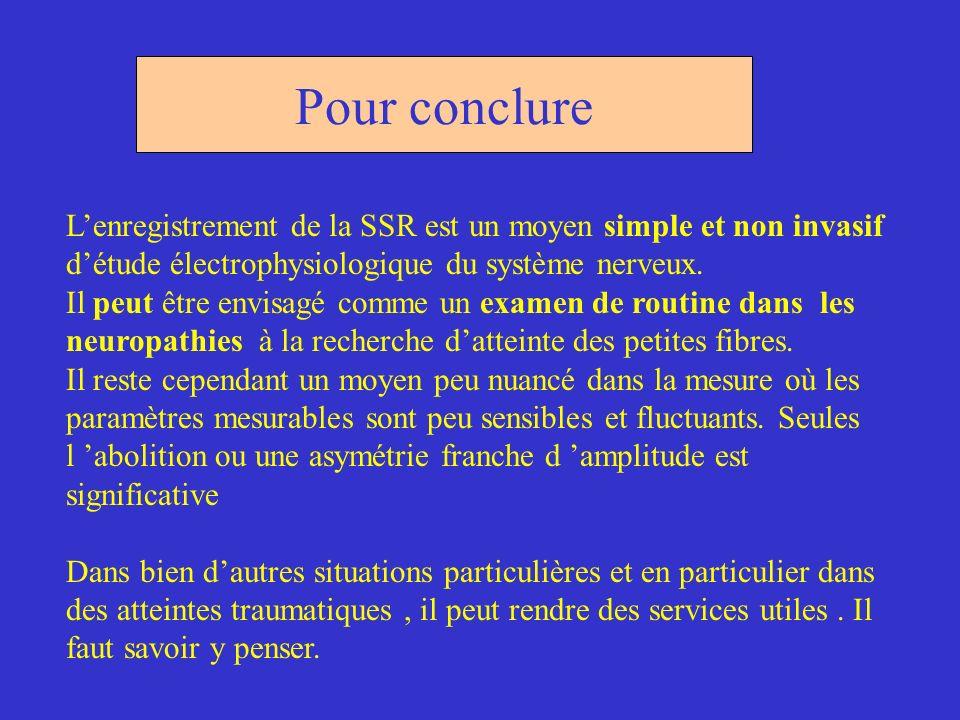 Pour conclure Lenregistrement de la SSR est un moyen simple et non invasif détude électrophysiologique du système nerveux. Il peut être envisagé comme