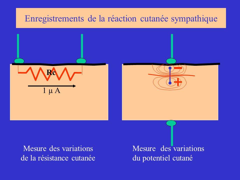 1 µ A Rc Mesure des variations de la résistance cutanée Mesure des variations du potentiel cutané Enregistrements de la réaction cutanée sympathique