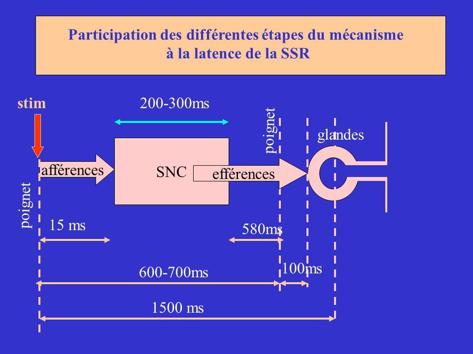 SNC afférences 1500 ms 600-700ms 15 ms 100ms 200-300ms 580ms Participation des différentes étapes du mécanisme à la latence de la SSR poignet efférenc