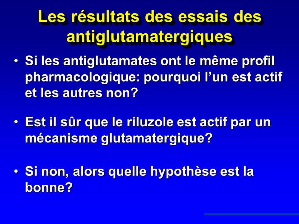 Les résultats des essais des antiglutamatergiques Si les antiglutamates ont le même profil pharmacologique: pourquoi lun est actif et les autres non?S