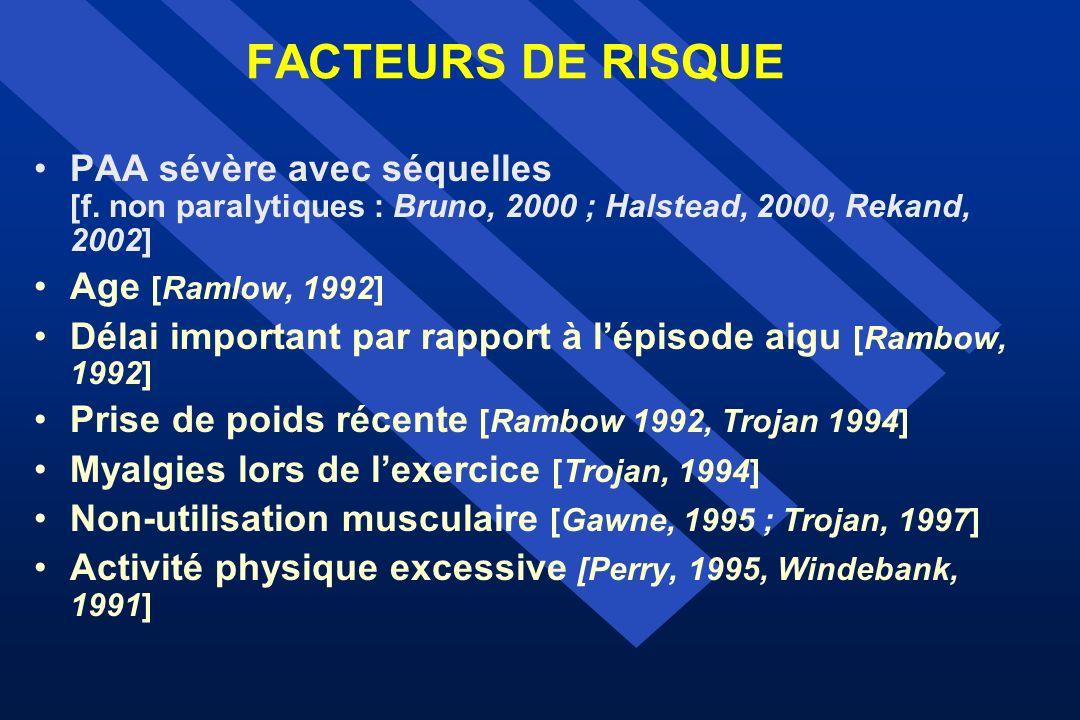 FACTEURS DE RISQUE PAA sévère avec séquelles [f. non paralytiques : Bruno, 2000 ; Halstead, 2000, Rekand, 2002] Age [Ramlow, 1992] Délai important par