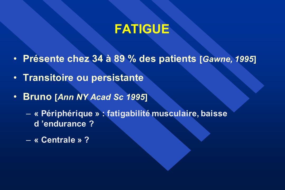 FATIGUE Présente chez 34 à 89 % des patients [Gawne, 1995] Transitoire ou persistante Bruno [Ann NY Acad Sc 1995] –« Périphérique » : fatigabilité mus