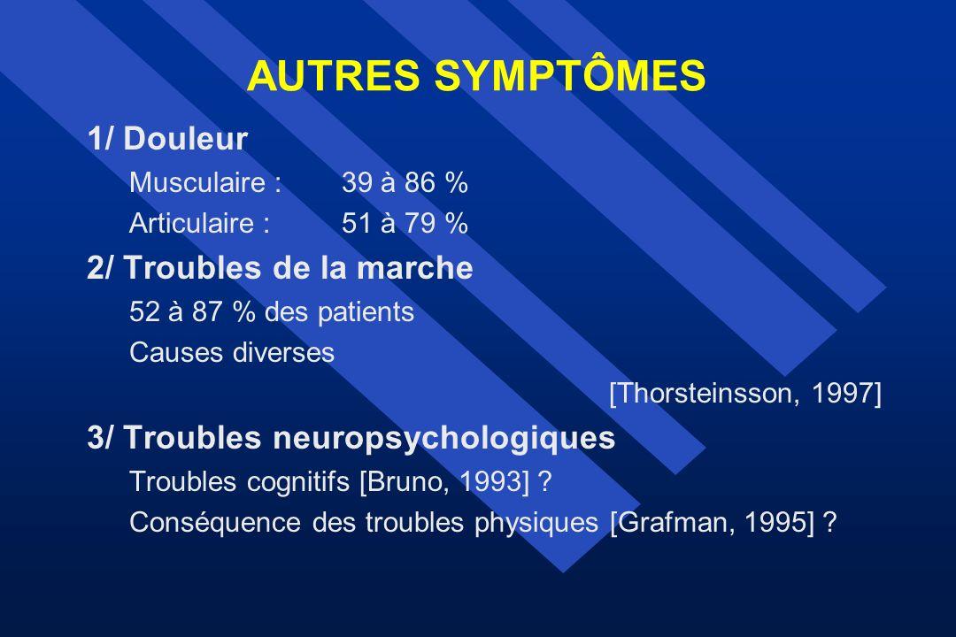 AUTRES SYMPTÔMES 1/ Douleur Musculaire :39 à 86 % Articulaire :51 à 79 % 2/ Troubles de la marche 52 à 87 % des patients Causes diverses [Thorsteinsso