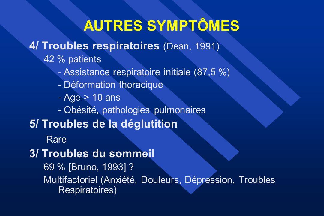 AUTRES SYMPTÔMES 4/ Troubles respiratoires (Dean, 1991) 42 % patients - Assistance respiratoire initiale (87,5 %) - Déformation thoracique - Age > 10