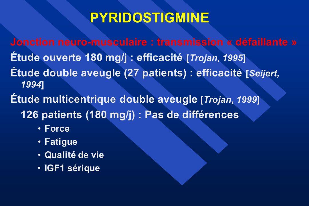 PYRIDOSTIGMINE Jonction neuro-musculaire : transmission « défaillante » Étude ouverte 180 mg/j : efficacité [Trojan, 1995] Étude double aveugle (27 pa