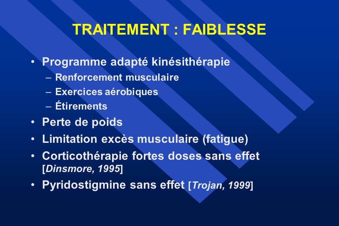 TRAITEMENT : FAIBLESSE Programme adapté kinésithérapie –Renforcement musculaire –Exercices aérobiques –Étirements Perte de poids Limitation excès musc