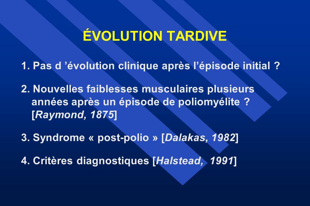 ÉVOLUTION TARDIVE 1. Pas d évolution clinique après lépisode initial ? 2. Nouvelles faiblesses musculaires plusieurs années après un épisode de poliom