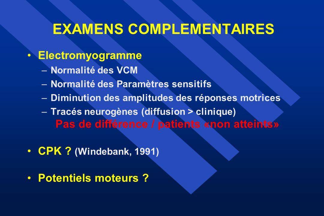 EXAMENS COMPLEMENTAIRES Electromyogramme –Normalité des VCM –Normalité des Paramètres sensitifs –Diminution des amplitudes des réponses motrices –Trac