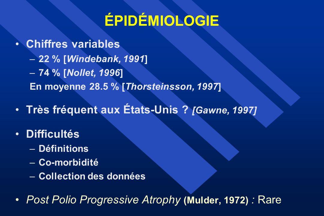 ÉPIDÉMIOLOGIE Chiffres variables –22 % [Windebank, 1991] –74 % [Nollet, 1996] En moyenne 28.5 % [Thorsteinsson, 1997] Très fréquent aux États-Unis ? [
