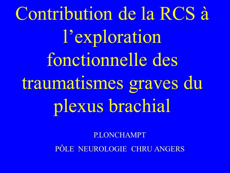 Contribution de la RCS à lexploration fonctionnelle des traumatismes graves du plexus brachial P.LONCHAMPT PÔLE NEUROLOGIE CHRU ANGERS