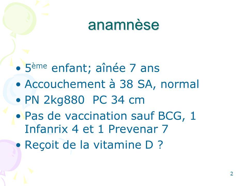 2 anamnèse 5 ème enfant; aînée 7 ans Accouchement à 38 SA, normal PN 2kg880 PC 34 cm Pas de vaccination sauf BCG, 1 Infanrix 4 et 1 Prevenar 7 Reçoit de la vitamine D ?