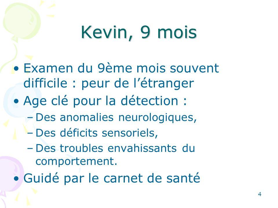 4 Kevin, 9 mois Examen du 9ème mois souvent difficile : peur de létranger Age clé pour la détection : –Des anomalies neurologiques, –Des déficits sensoriels, –Des troubles envahissants du comportement.