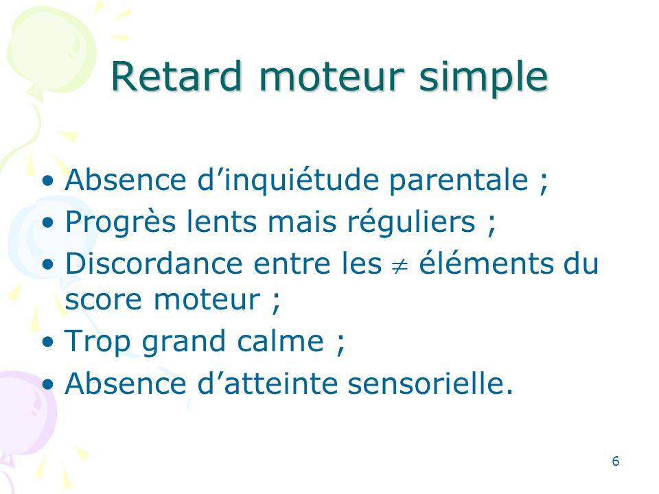 6 Retard moteur simple Absence dinquiétude parentale ; Progrès lents mais réguliers ; Discordance entre les éléments du score moteur ; Trop grand calme ; Absence datteinte sensorielle.