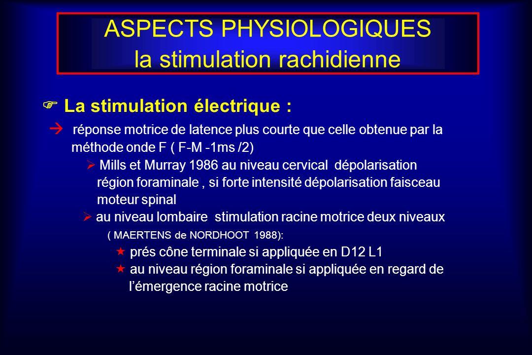 ASPECTS PHYSIOLOGIQUES la stimulation rachidienne La stimulation électrique : réponse motrice de latence plus courte que celle obtenue par la méthode onde F ( F-M -1ms /2) Mills et Murray 1986 au niveau cervical dépolarisation région foraminale, si forte intensité dépolarisation faisceau moteur spinal au niveau lombaire stimulation racine motrice deux niveaux ( MAERTENS de NORDHOOT 1988): prés cône terminale si appliquée en D12 L1 au niveau région foraminale si appliquée en regard de lémergence racine motrice