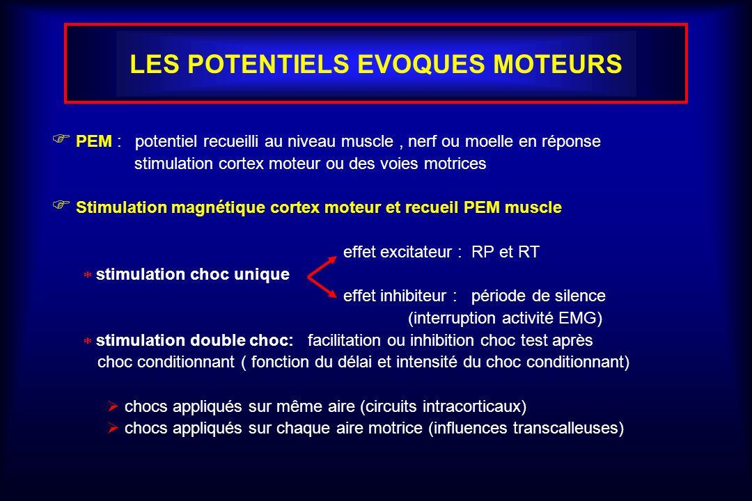 LES POTENTIELS EVOQUES MOTEURS PEM : potentiel recueilli au niveau muscle, nerf ou moelle en réponse stimulation cortex moteur ou des voies motrices S